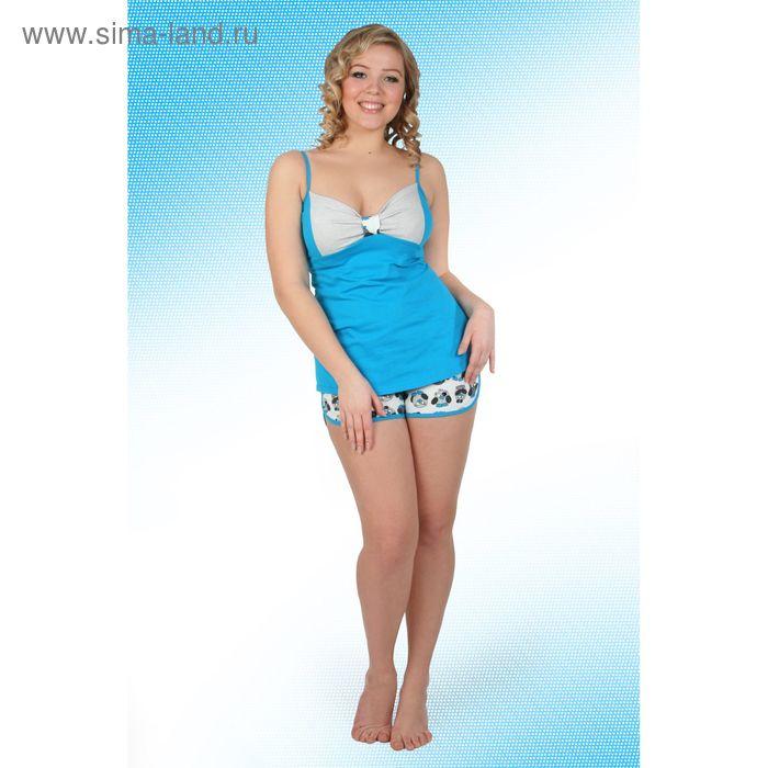 Пижама женская (топ, шорты) Пин-1 синий, р-р 46