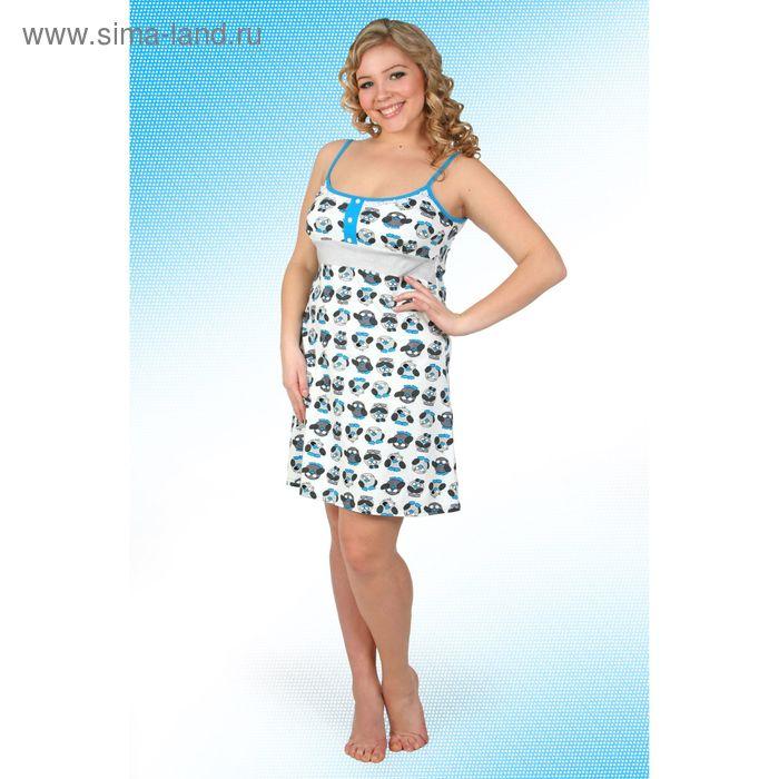 Сорочка  женская Пин-5 синий, р-р 46