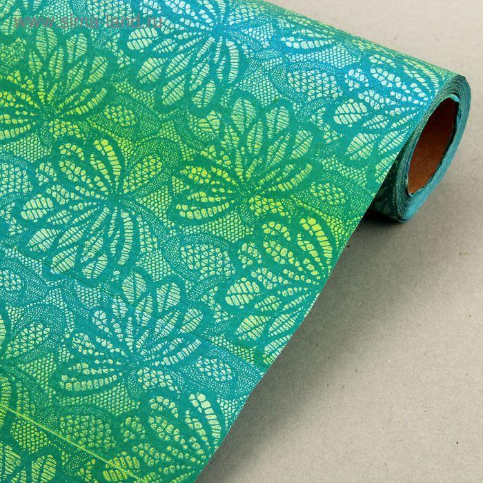 """Бумага упаковочная крафт """"Ананас"""", бирюзово-зеленый, 0.5 х 10 м"""