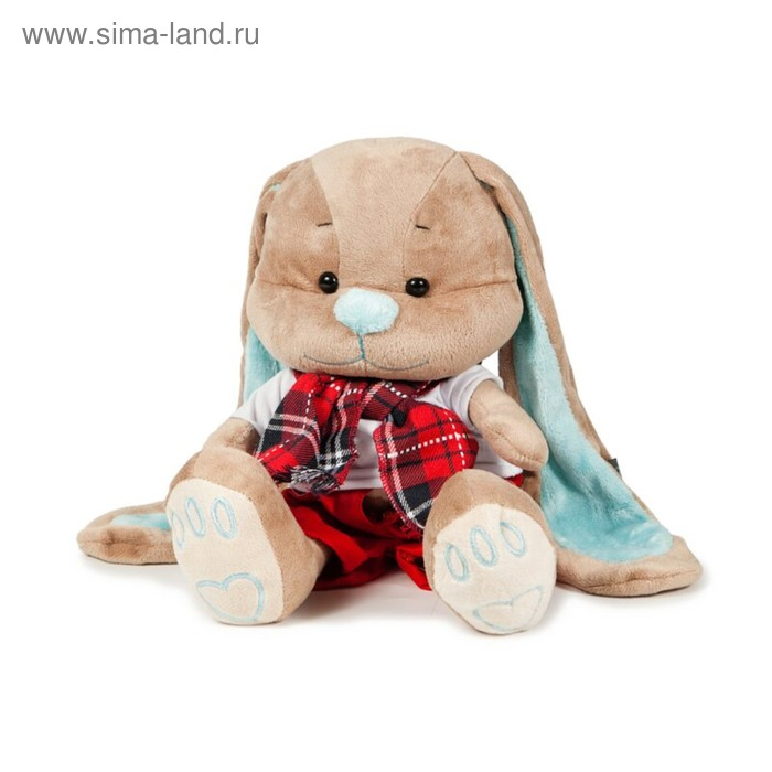 Мягкая игрушка «Зайчик Жак в красных штанишках с шарфом»