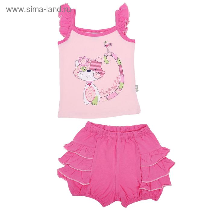 Комплект для девочки (топ, шорты), рост 86 см, цвет розовый (арт. CSB 9199 (05))