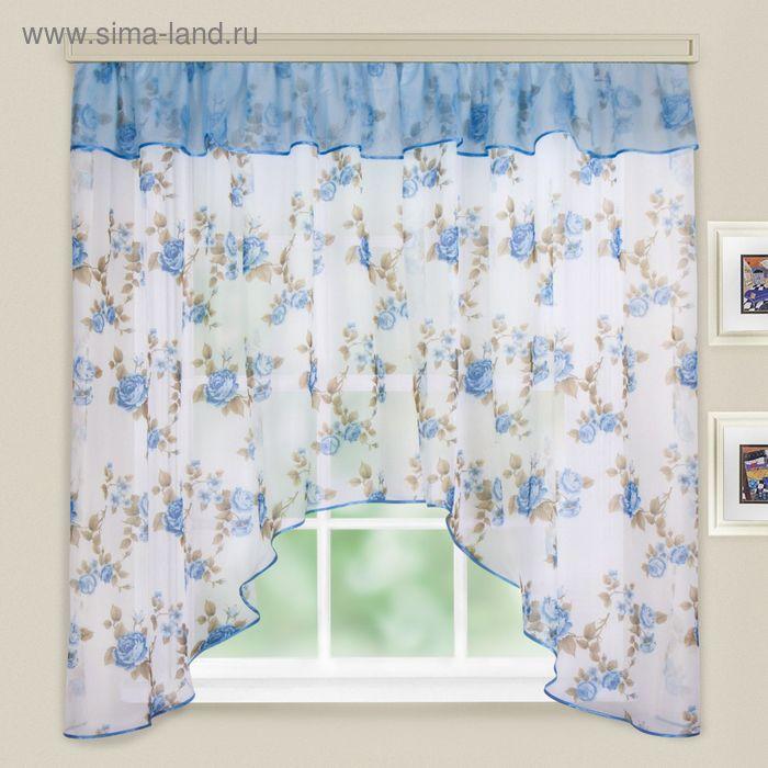 """Кухонная штора """"Кантри"""", ширина 285 см, высота 160 см+/- 5 см, цвет голубой, принт микс"""