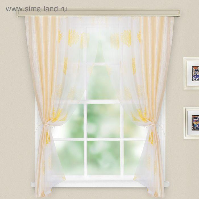 """Комплект штор """"Хлоя"""", ширина 150 см, высота 180 см+/- 2 см, цвет молочный, принт микс"""