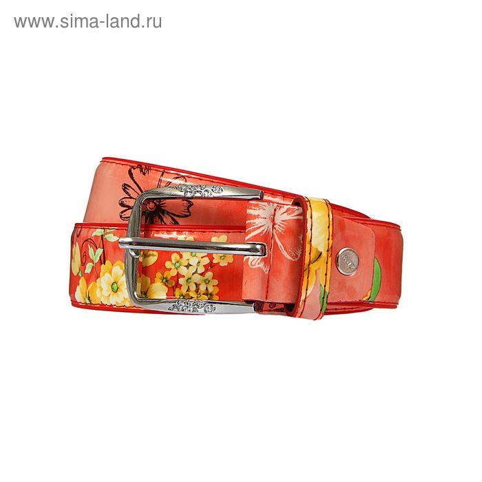 Ремень женский, винт, пряжка под металл, ширина - 3,5см, цвет коралловый