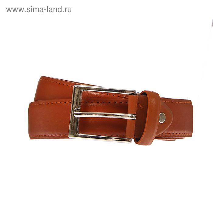 Ремень мужской гладкий, винт, пряжка под металл, ширина - 3,5см, коричневый