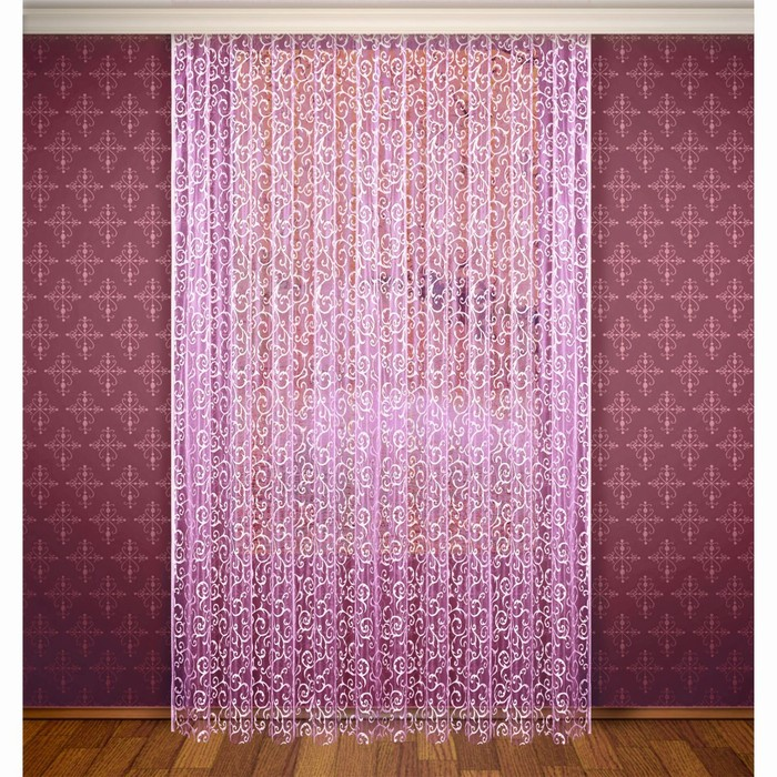 Штора, ширина 300 см, высота 280 см, с шторной лентой, цвет фиолетово-розовый