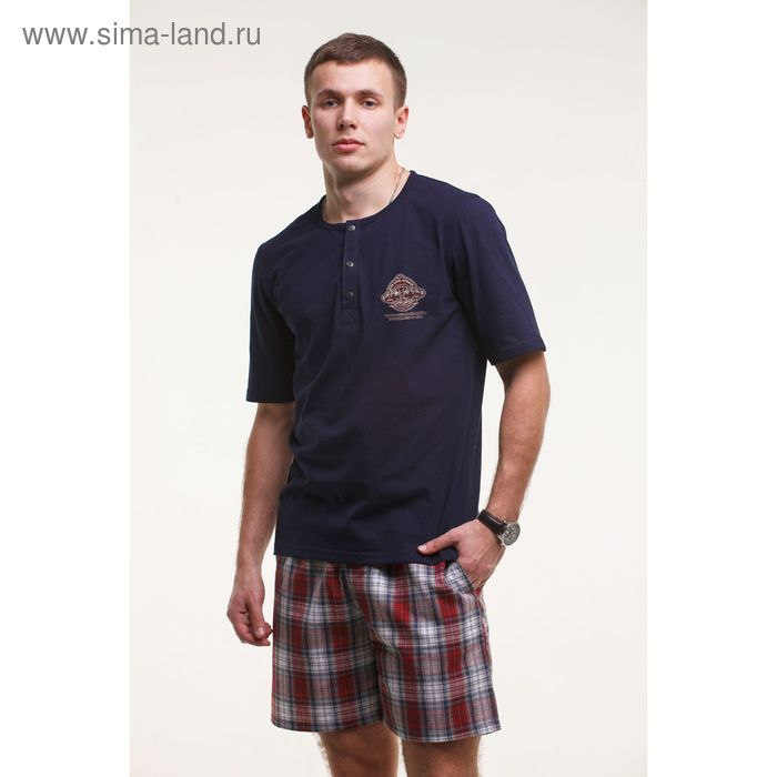 Комплект мужской (футболка+шорты), цвет тёмно-синий, размер 54 (арт. М-749/1-26)