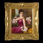 """Картина """"Девушка в цветах"""" в резном багете"""