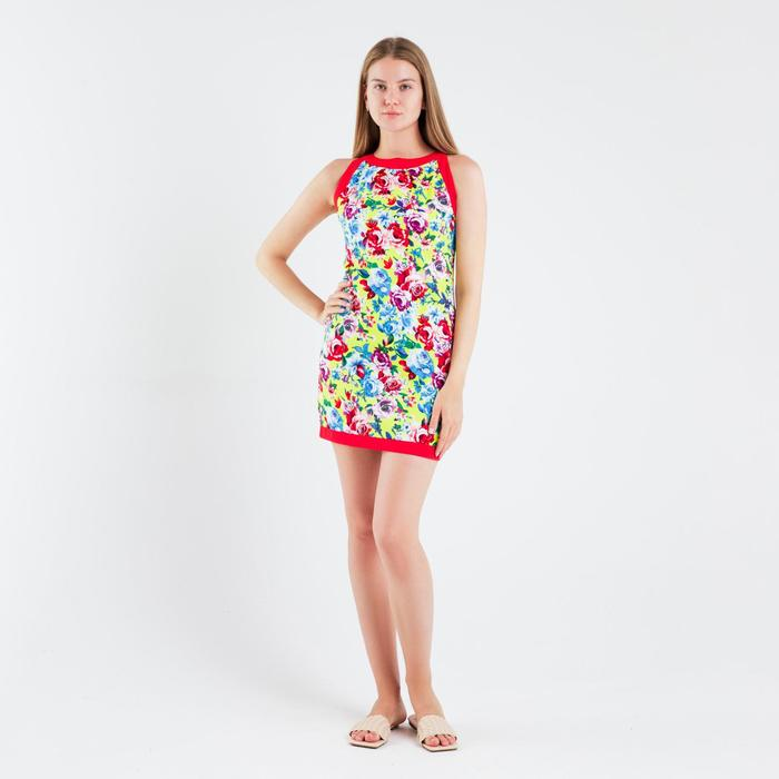 Платье женское, размер 44, рост 164 см, цвет жёлтый/цветочный принт (арт. 14-86)