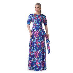 Платье женское, размер 46, рост 164 см, цвет фиолетовый/цветочный принт (арт. 14-88)