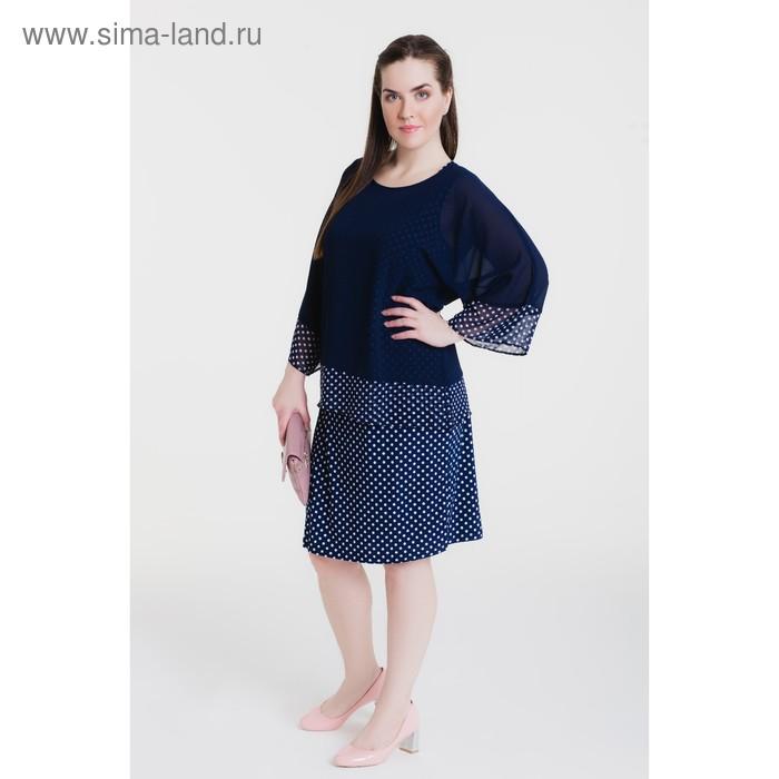 Платье женское, размер 52, рост 164 см, цвет тёмно-синий/принт горошек (арт. 14-64)