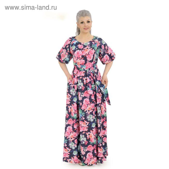 Платье женское, размер 50, рост 164 см, цвет тёмно-синий/цветочный принт (арт. 14-90)