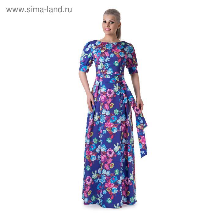 Платье женское, размер 48, рост 164 см, цвет фиолетовый/цветочный принт (арт. 14-88)