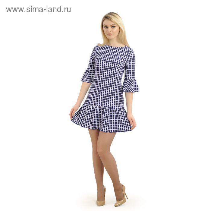 Платье женское, размер 42, рост 164 см, цвет тёмно-синий/белая клетка (арт. 14-79)