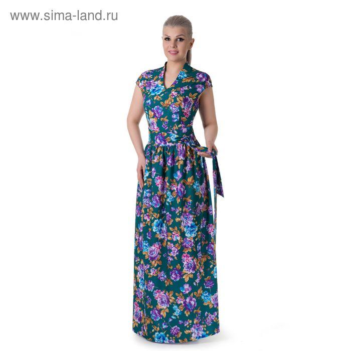 Платье женское, размер 46, рост 164 см, цвет тёмно-зелёный/цветочный принт (арт. 14-65)