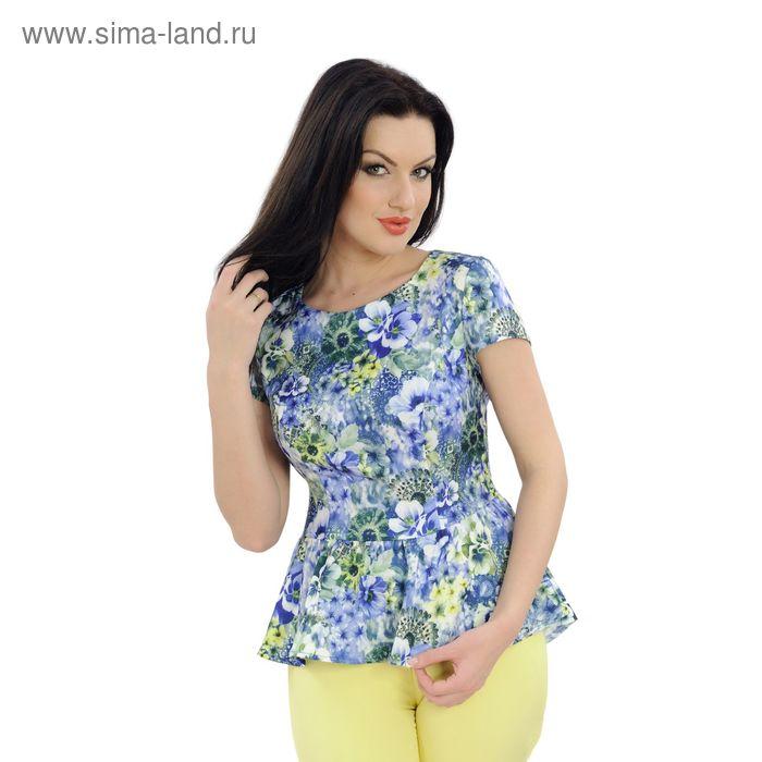 Блузка женская, размер 50, рост 164 см, цвет голубой/цветочный принт (арт. 40-02 С+)