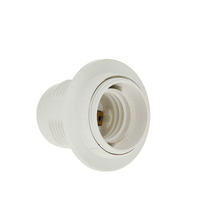 Патрон TDM, Е27, с кольцом, термостойкий пластик, белый, SQ0335-0008