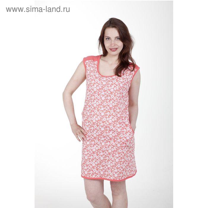 Туника женская, цвет белый/коралловый, рост 164 см, размер 54 (арт. 5317)