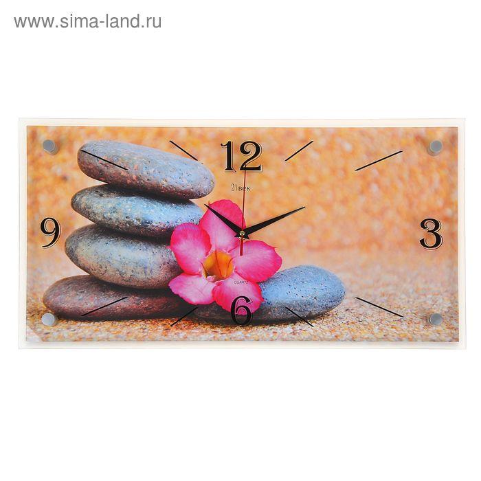 """Часы настенные прямоугольные """"Цветок на камнях"""", 52х26 см"""