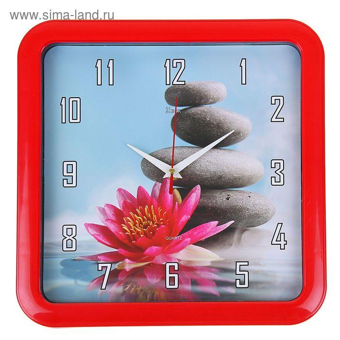 """Часы настенные квадратные """"Цветок на камнях"""", 23х23 см красный обод"""