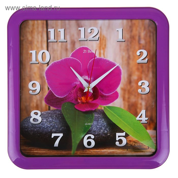 "Часы настенные квадратные ""Цветок на камне"", 23х23 см фиолетовый обод"