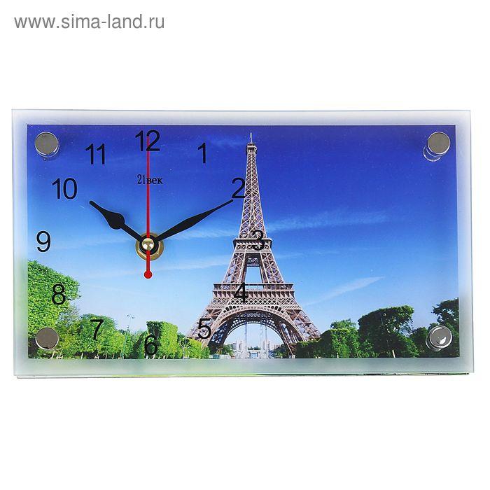 """Часы настенно-настольные прямоугольные """"Эйфелева башня"""", 13х23 см"""