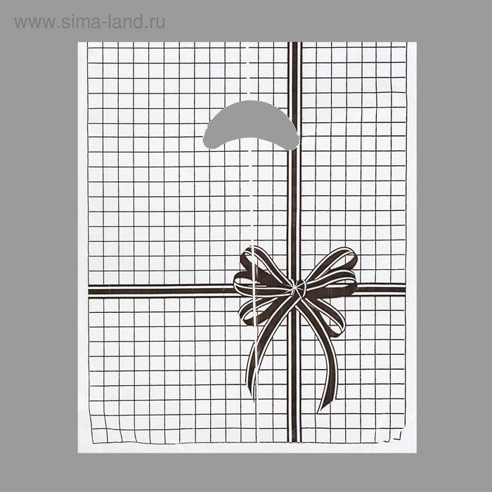 """Пакет """"Черная клетка"""", полиэтиленовый с вырубной ручкой, 22х30 см, 12 мкм"""