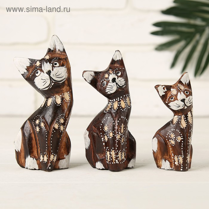 """Набор сувениров """"Кошки"""" 3 шт.: 8, 10, 12 см"""
