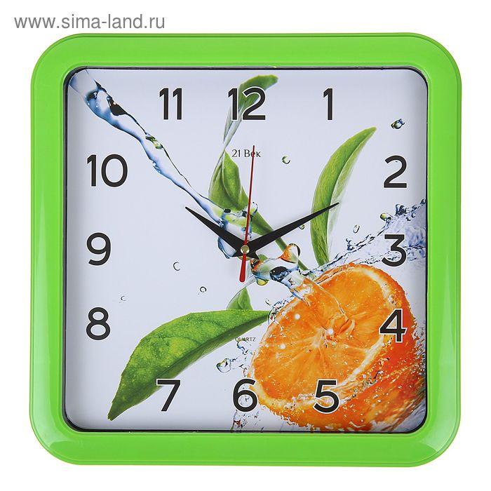 "Часы настенные квадратные ""Апельсин"", 23х23 см зеленый обод"