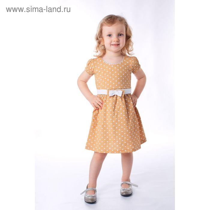 Платье для девочки, рост 110 см, цвет коричневый, принт белый горох (арт. К-057)