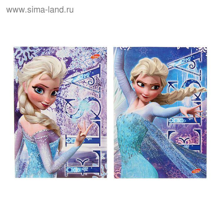 Блокнот 120*170мм, 40 листов на клею Frozen, выборочный лак, 2 вида МИКС
