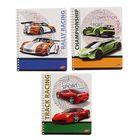 Тетрадь 48 листов клетка на гребне Rally Racing, обложка мелованный картон, полный УФ-лак, МИКС