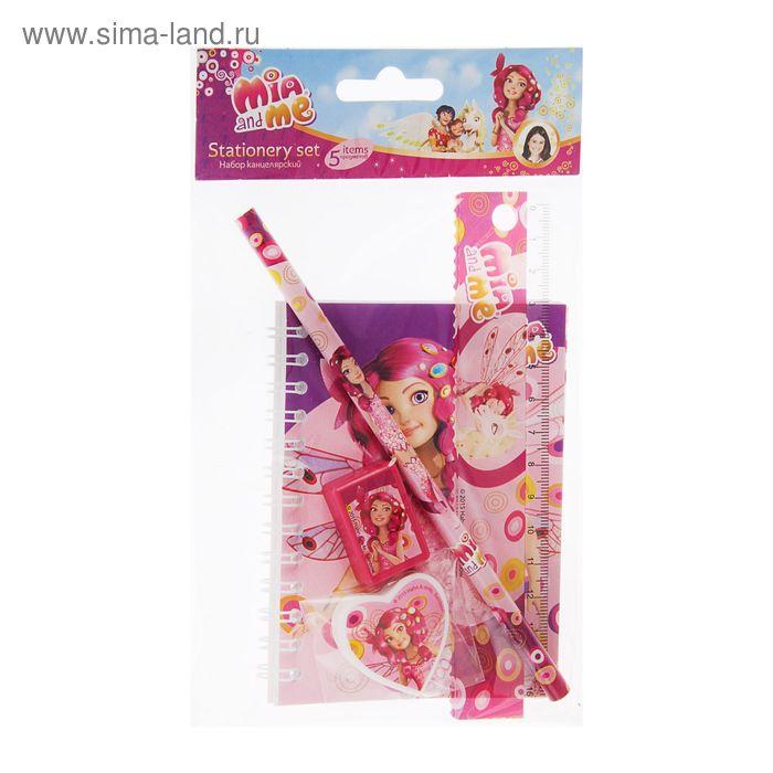 Набор канцелярский Mia and Me в пакете: ластик фигурный, линейка,точилка, чернографитный карандаш, записная книжка