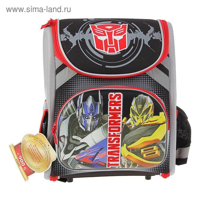 Ранец Стандарт раскладной Transformers 35*31*14, EVA спинка, для мальчика, серый