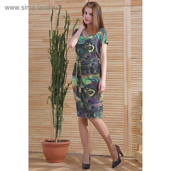 Платье 4761, размер 48, рост 164 см, цвет зеленый/фиолетовый