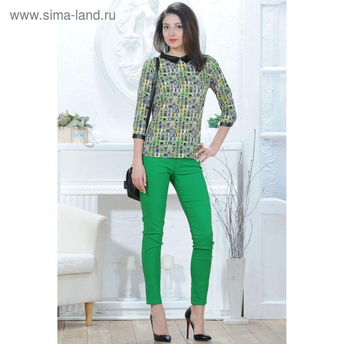 Блуза 4831а, размер 44, рост 164 см, цвет зеленый/черный/желтый