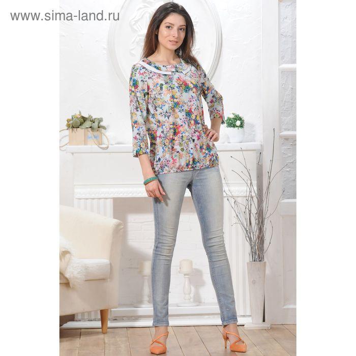 Блуза 4840, размер 48, рост 164 см, цвет серый/зеленый