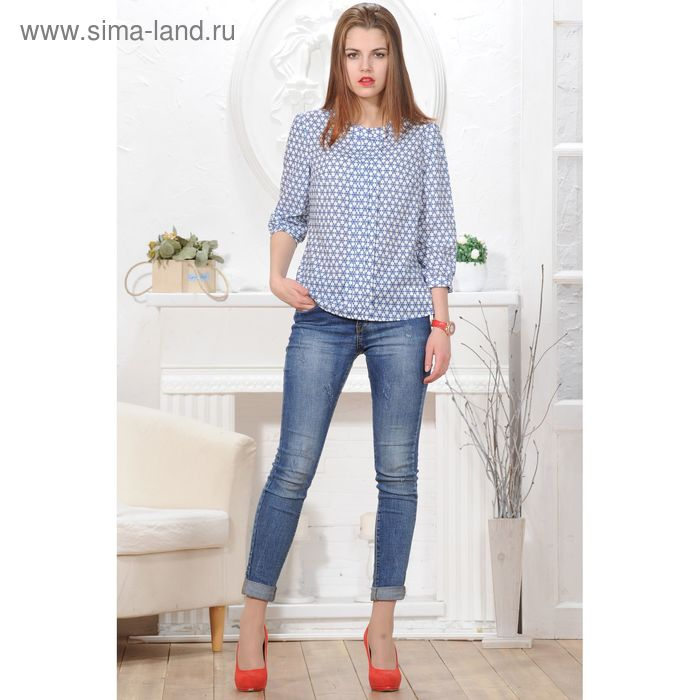 Блуза 4833а, размер 44, рост 164 см, цвет белый/синий