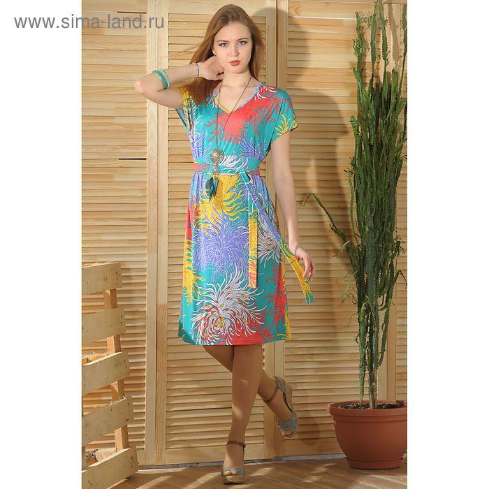 Платье 4755 С+, размер 56, рост 164 см, цвет зеленый/сиреневый/желтый