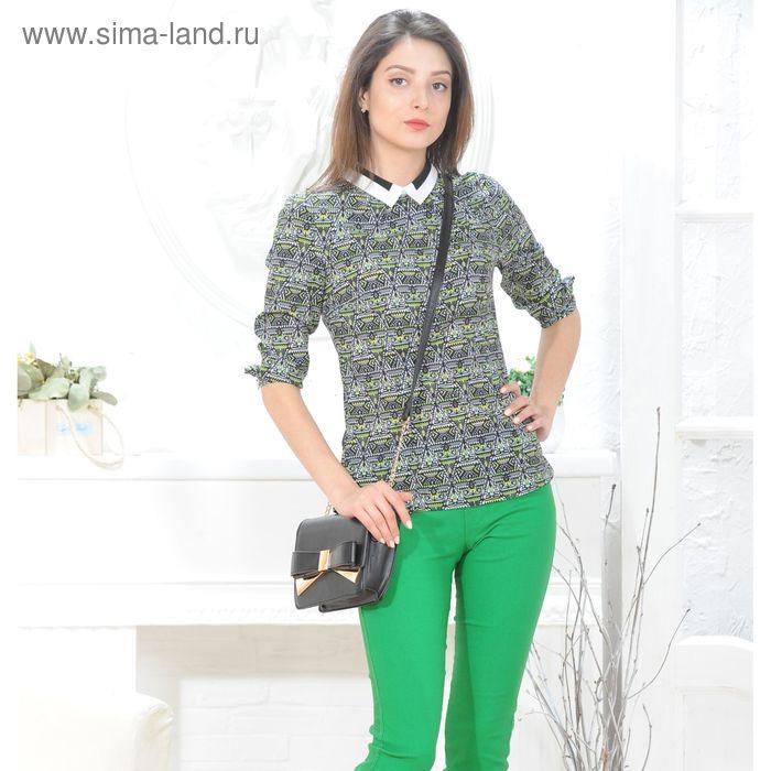 Блуза 4828 С+, размер 48, рост 164см, цвет черный/белый/зеленый