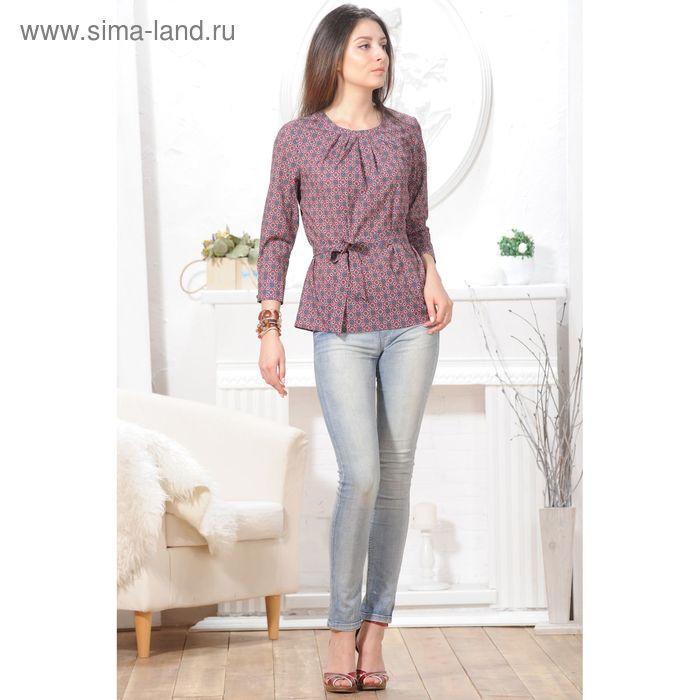 Блуза, размер 50, рост 164 см, цвет красный/синий (арт. 4847 С+)