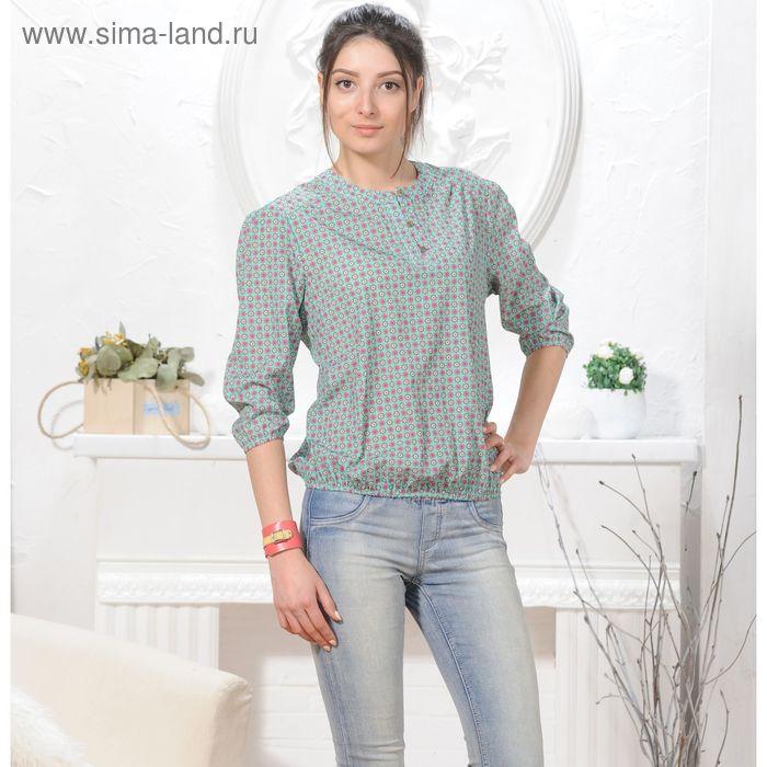 Блуза 4832а, размер 46, рост 164 см, цвет зеленый/розовый