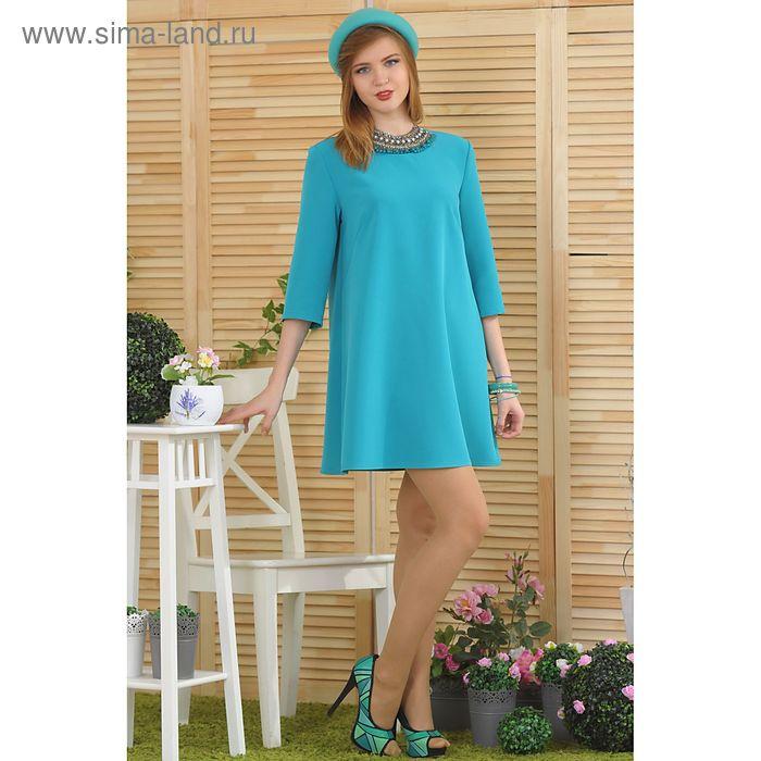 Платье, размер 52, рост 164 см, цвет зелёный/бирюзовый (арт. 4729 С+)