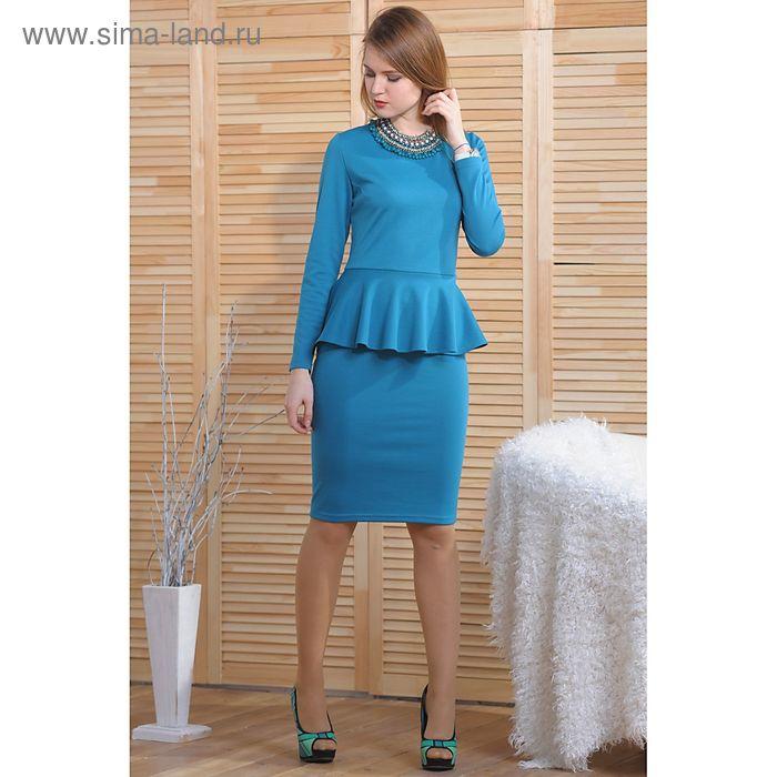 Платье 4776, размер 46, рост 164 см, цвет морская волна