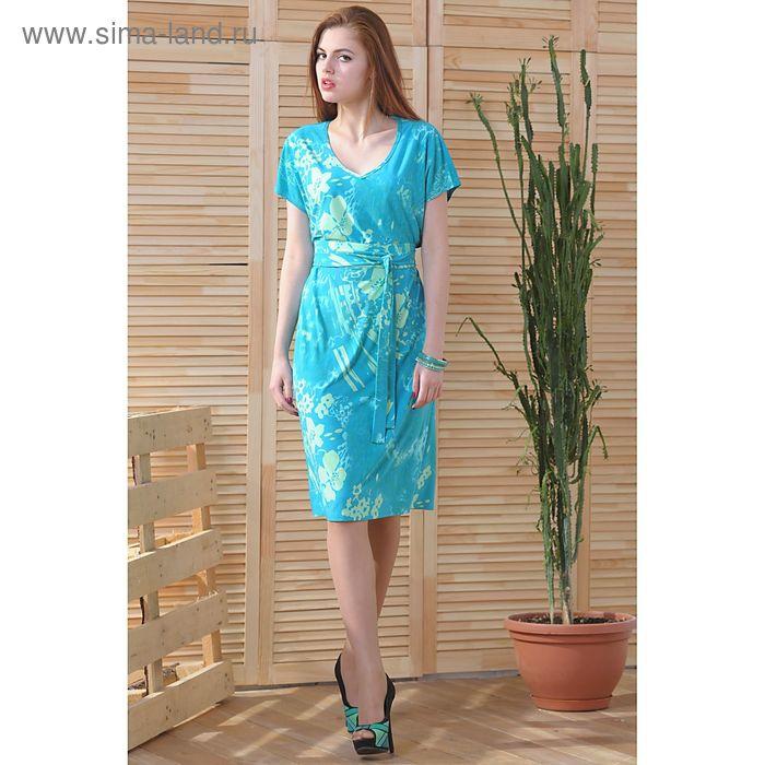 Платье 4753 С+, размер 54, рост 164 см, цвет зеленый/бирюзовый