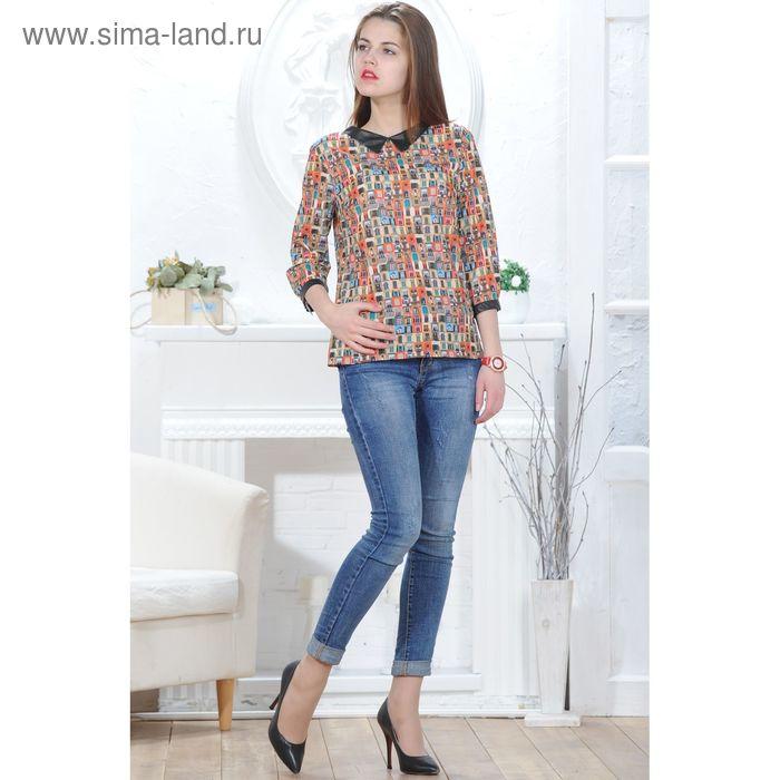 Блуза 4831, размер 48, рост 164 см, цвет красный/зеленый/черный