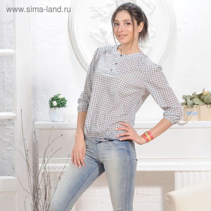 Блуза 4832б, размер 46, рост 164 см, цвет белый/зеленый