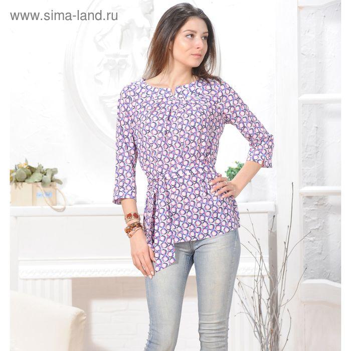 Блуза 4837, размер 44, рост 164 см, цвет белый/фиолет/розовый