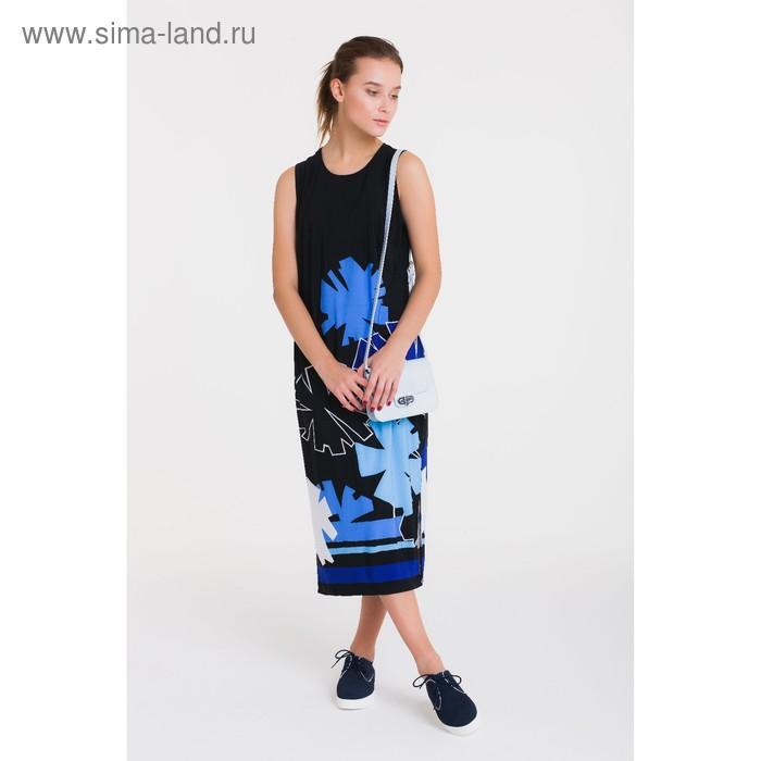 Платье, размер 52, рост 164 см, цвет чёрный/синий (арт. 4759 С+)