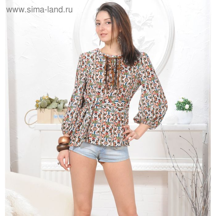 Блуза, размер 50, рост 164 см, цвет белый/зеленый/оранжевый (арт. 4845а С+)